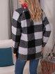 Black Cotton-Blend Checkered/plaid Long Sleeve Outerwear
