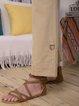 Light Kahaki Casual Cotton-Blend Pants