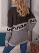 Gray Acrylic Vintage Geometric V Neck Sweater