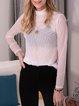 White Turtleneck Cotton-Blend Long Sleeve Shirts & Tops