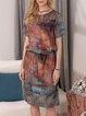 Casual Abstract Landscape Print Straight Dress Drawstring Pocket Dress