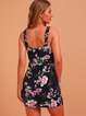 Black Bodycon Sleeveless Floral Dresses