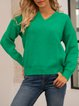 Green Paneled Casual Solid Cotton-Blend Sweater