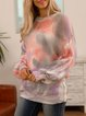 Purple Paneled Ombre/tie-Dye Long Sleeve Sweater