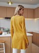 Yellow Cotton-Blend Solid Long Sleeve Blouse