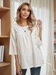 White Plain Paneled Cotton-Blend Long Sleeve Shirts & Tops