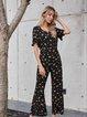 Black Crew Neck Floral Short Sleeve Cotton-Blend One-Pieces