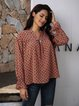 Red Cotton-Blend V Neck Paneled Long Sleeve Shirts & Tops