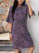 Purple Crew Neck Half Sleeve Dresses