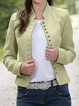 Light Gray Cotton-Blend Casual Outerwear