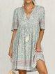 Light Blue Half Sleeve Cotton-Blend Dresses