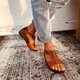 Blue Summer Daily Leather Flat Heel Sandals
