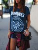 Casual knitted crew neck print T-shirt