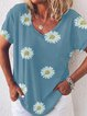 Deep Blue Casual V Neck Printed Shirts & Tops