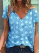 Gray Short Sleeve Casual V Neck Tops