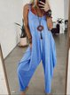 Gray Sleeveless Solid Round Neck Casual Jumpsuits