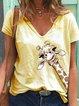Light Blue Simple Printed V Neck Shirts & Tops