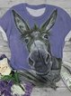 Plus Size Cotton-Blend Animal Crew Neck Short Sleeve Shirts & Tops