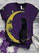 Plus Size Animal Vintage Short Sleeve Crew Neck Shirts & Tops
