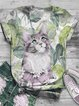 Plus Szie Casual Cotton-Blend Vintage Floral Shirts & Tops