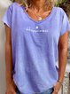 Pink Cotton-Blend Casual Round Neck Shirts & Tops