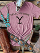 Yellow Knitted Short Sleeve Letter Shift Shirts & Tops