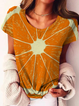 Plus size Casual Printed Short Sleeve Shirts & Tops