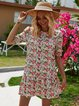 Flower Cotton-Blend Floral-Print Floral Short Sleeve Dresses