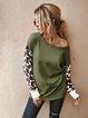 Leopard Acrylic Crew Neck Long Sleeve Sweater