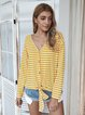 V Neck Casual Striped Long Sleeve T-Shirts