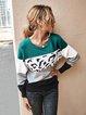 Long Sleeve Crew Neck Leopard Stitching Sweater