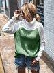 Acrylic Long Sleeve Color-block Casual Sweater