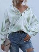 V-neck Buttons Tie-dye Gradient Casual Sweater Tops