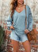 Ethnic Print Stitching V-neck T-shirt Drop Sleeves Loose Casual Tops