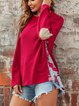 Ethnic Print Solid color Stitching Loose Round Neck Patch Sweater