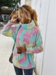 Casual Ombre/tie-Dye Turtleneck Cotton-Blend Sweatshirt