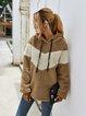 Casual Long Sleeve Plain Teddy Sweatshirt