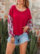 Ethnic Style Tie-dye Printing Splicing Long-sleeved Sweater