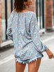Ethnic Print Lantern Sleeve Casual Drawstring Round Neck T-shirt