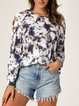 Tie-dye Hollow Round Neck Casual Sweater Tops