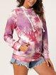 V-tie Loose Casual Tie-dye Hooded Sweatershirt