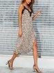 Sexy Halter Lace V-neck Strap Leopard Print Dress