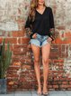 Stitching Leopard Print V-neck Casual Loose Knit Sweater Tops