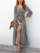 Ethnic Printed V-neck Loose Bohemian Dresses