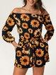 Sun Flower Print One-shoulder Casual Lace Jumpsuit