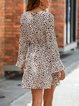 Leopard Print V-neck Sexy Long Sleeve Dress