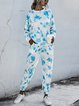 Tie-dye Gradient Round Neck Casual Long-sleeved Sports Suits