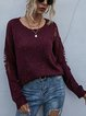 Hollow Knitted Sweater Solid Color Round Neck Long Sleeve Tops