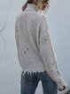 Loose Off-shoulder Long-sleeved High-neck Knitted Sweater