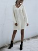 Pure Color Twist Long Sleeve Knitted Sweater Dress